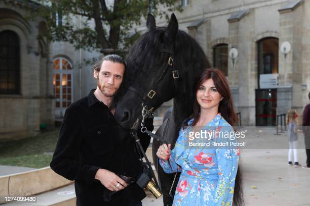 """Director of the movie Amaury Voslion, Clemence Faivre-Luraschi and the horse Minos attend the """"Il Medico Della Peste"""" Franck Sorbier Haute Couture..."""