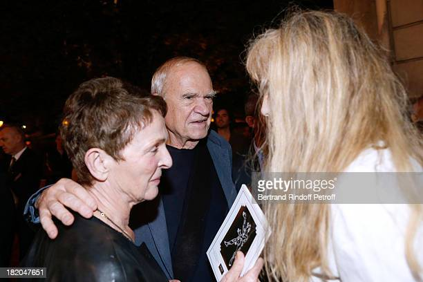 Director of the movie Arielle Dombasle with writer Milan Kundera and his wife attend the 'Opium' movie premiere held at Cinema Saint Germain in Paris...