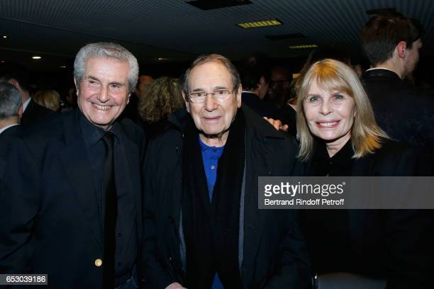 Director of the movie Claude lelouch Robert Hossein and Candice Patou attend the Chacun sa vie Paris Premiere at Cinema UGC Normandie on March 13...