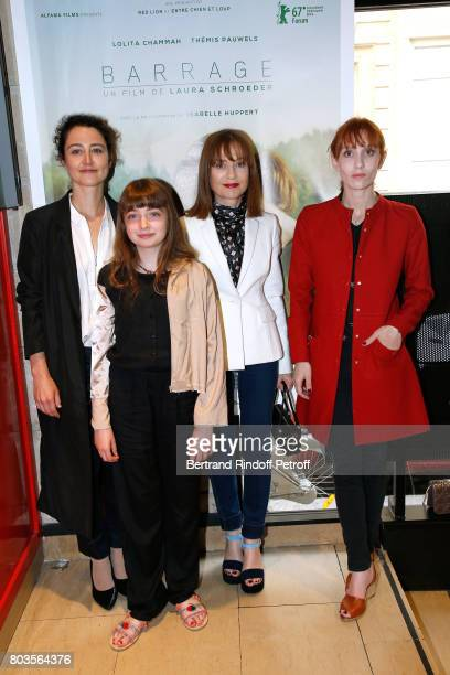 Director of the movie Laura Schroeder actresses of the movie Themis Pauwels Isabelle Huppert and her daughter Lolita Chammah attend the 'Barrage'...