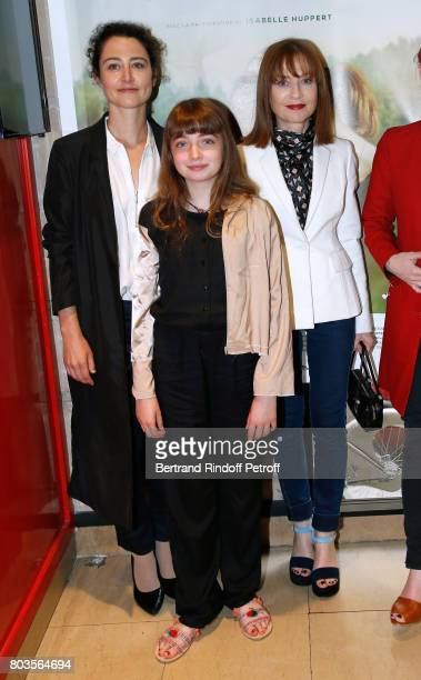 Director of the movie Laura Schroeder actresses of the movie Themis Pauwels and Isabelle Huppert attend the 'Barrage' Paris Premiere at UGC Odeon on...