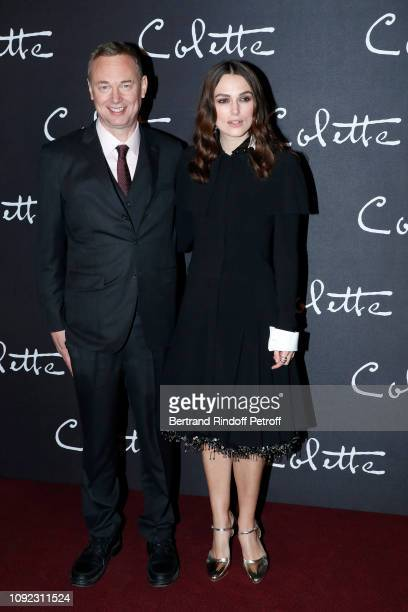 """Director of the movie Wash Westmoreland and actress of the movie Keira Knightley attends the """"Colette"""" Paris Premiere at Cinema Gaumont Marignan on..."""