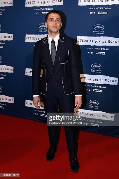 Director of the movie Xavier Dolan dressed in Louis Vuitton attends the 'Juste la fin du Monde' Paris Premiere at Mk2 Bibliotheque on September 15...