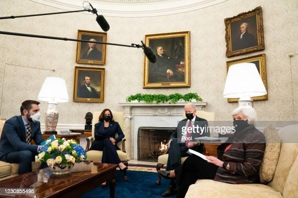 Director of the National Economic Council Brian Deese, Vice President Kamala Harris and U.S. President Joe Biden meet with Treasury Secretary Janet...