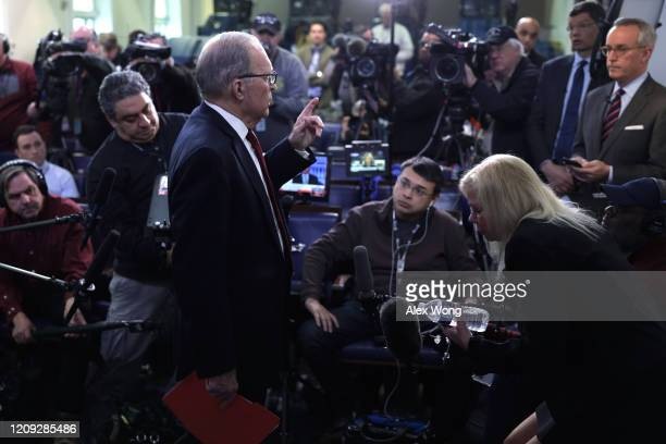 Director of the National Economic Council Larry Kudlow speaks to members of the media after a TV interview at the James Brady Press Briefing Room at...
