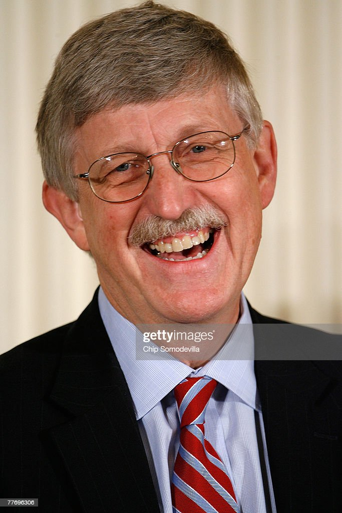 Director of the National Human Genome Research Institute Francis Collins smiles before being presented the 2007 Presidential Medal of Freedom in the East Room of the White House November 5, 2007 in Washington, DC. The Medal of Freedom is given to those who have made remarkable contributions to the security or national interests of the United States, world peace, culture, or other private or public endeavors.