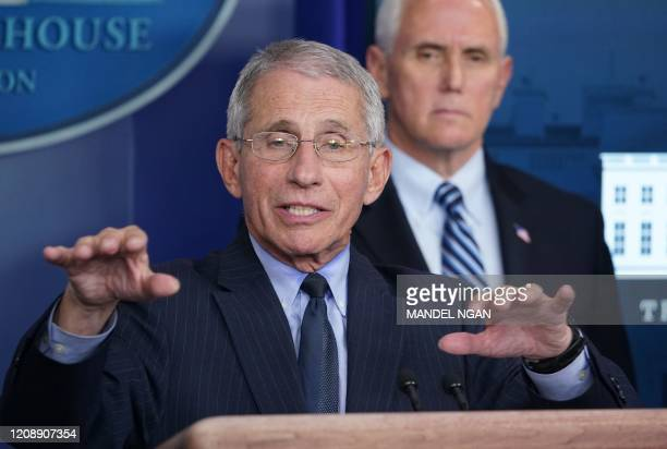Director of the National Institute of Allergy and Infectious Diseases Anthony Fauci speaks during the daily briefing on the novel coronavirus,...