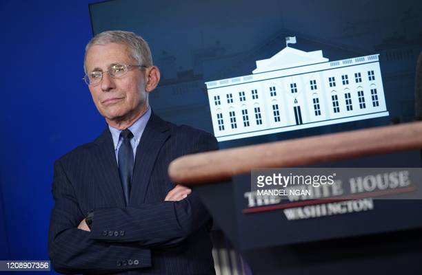 Director of the National Institute of Allergy and Infectious Diseases Anthony Fauci looks on during the daily briefing on the novel coronavirus,...