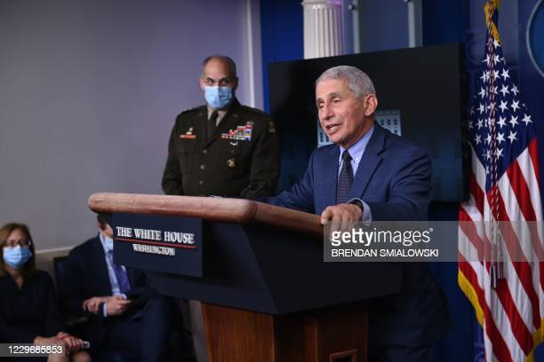 Director of the National Institute of Allergy and Infectious Diseases Anthony Fauci speaks during a White House Coronavirus Task Force press briefing...