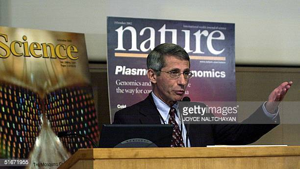 Director of the National Institutes of Allergy and Infectious Diseases Dr Anthony Fauci speaks to reporters during a press conference 02 October 2002...