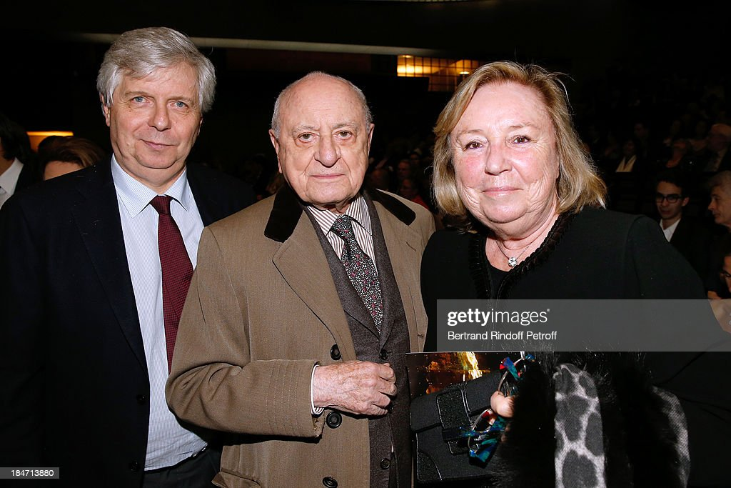 Director of the National Opera Stephane Lissner, Pierre Berge and Miss Francois Pinault attend AROP Gala at Opera Bastille with a representation of 'Aida' on October 15, 2013 in Paris, France.