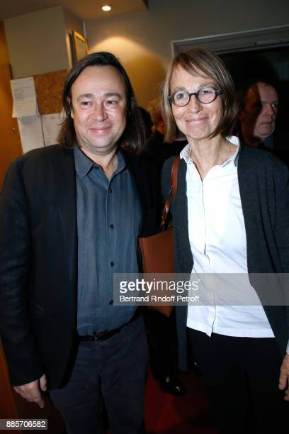 Director of the Odeon Theatre Stephane Braunschweig and French Ministre of Culture Francoise Nyssen attend the Tribute to Actress Jeanne Moreau at...
