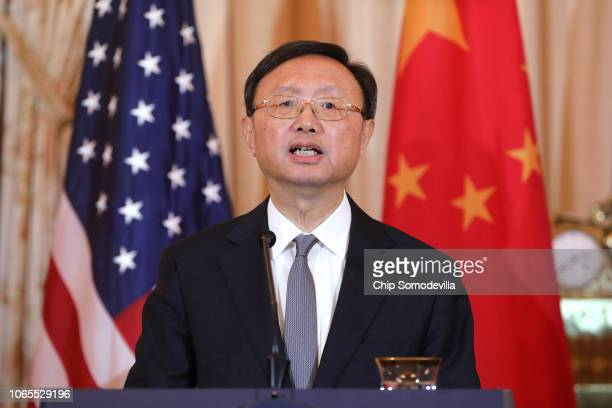 Director of the Office of Foreign Affairs of the Central Commission of the Communist Party of China Yang Jiechi speaks during a joint news conference...