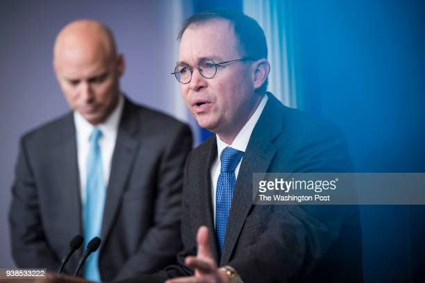 Director of the Office of Management and Budget Mick Mulvaney right and White House Director of Legislative Affairs speak to reporters an members of...