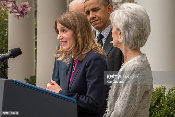 Director of the Office of Management and Budget Sylvia Mathews Burwell speaks during an event as US President Barack Obama and Vice President Joe...
