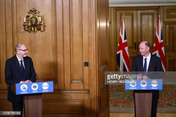 Director of the Oxford Vaccine Group Andrew Pollard and Britain's Chief Medical Officer for England Chris Whitty hold a virtual press conference...