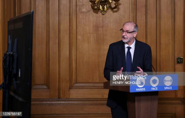 Director of the Oxford Vaccine Group Andrew Pollard speaks during a virtual press conference inside 10 Downing Street in central London on November...
