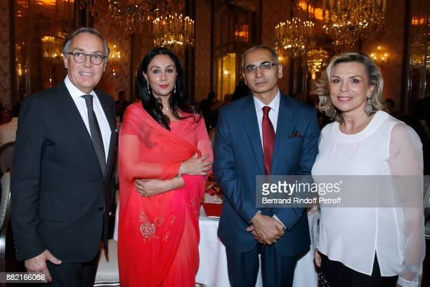 Director of the Plaza Athenee Hotel Francois Delahaye HRH Princess Diya Kumari of Jaipur Ambassador of India to France Vinay Mohan Kwatra and...