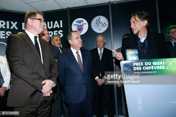 Director of the 'Police Judiciaire' Christian Sainte Paris Police Prefect Michel Delpuech and Sponsor of the 2018 Prize Richard Berry attend Sylvain...
