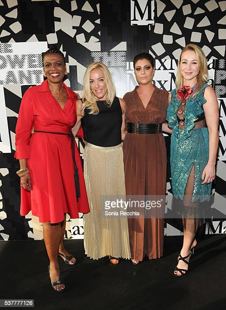 Director of The Power Plant Gatane Verna wearing Max Mara Jennen Phelan Maria Giulia Maramotti and Belinda Stronach attend the Max Mara presents The...