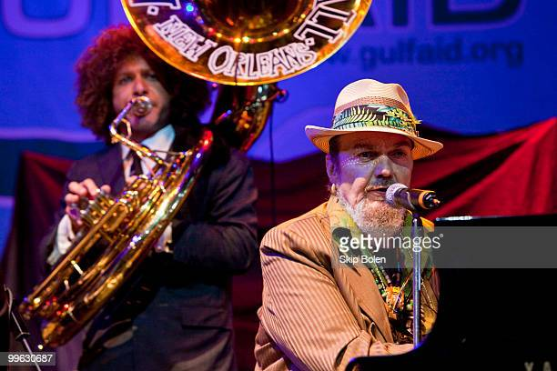 Director of the Preservation Hall Jazz Band and tuba player Ben Jaffe and New Orleans musician Dr John perform at the GULF AID benefit concert at...
