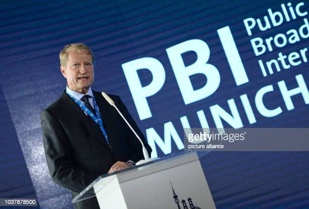 Director of the public bavarian TV and radio network BR Ulrich Wilhelm speaks at the 'Public Broadcasters International' conference in Munich Germany...