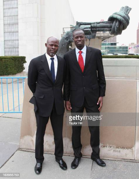 Director of the South Sudan Action Network in Small Arms Geoffrey Duke and actor Djimon Hounsou attend Oxfam International's Arms Control Campaign...