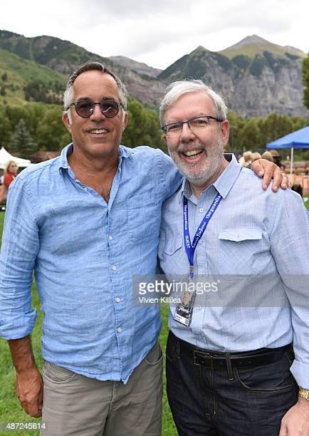 Director of the Sundance Film Festival John Cooper and film critic Leonard Maltin attend the 2015 Telluride Film Festival on September 7 2015 in...
