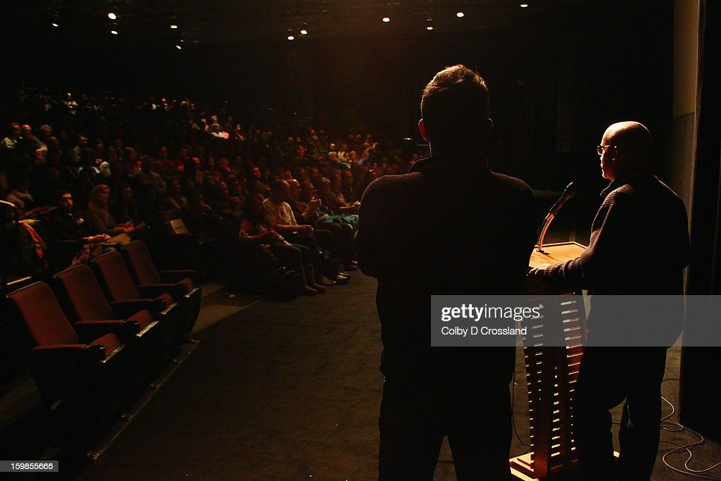 Director of the Sundance Film Festival John Cooper and filmmaker Alex Gibney speak onstage at the 'We Steal Secrets: The Story Of Wikileaks' premiere at The Marc Theatre during the 2013 Sundance Film Festival on January 21, 2013 in Park City, Utah.