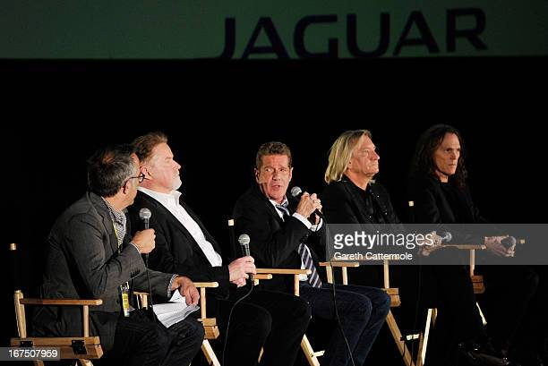 Director of the Sundance Film Festival John Cooper, Musicians Don Henley, Glenn Frey, Joe Walsh and Timothy B. Schmit of The Eagles speak at the...