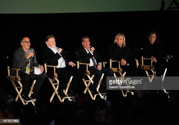 Director of the Sundance Film Festival John Cooper Musicians Don Henley Glenn Frey Joe Walsh and Timothy B Schmit of The Eagles speak at the 'History...