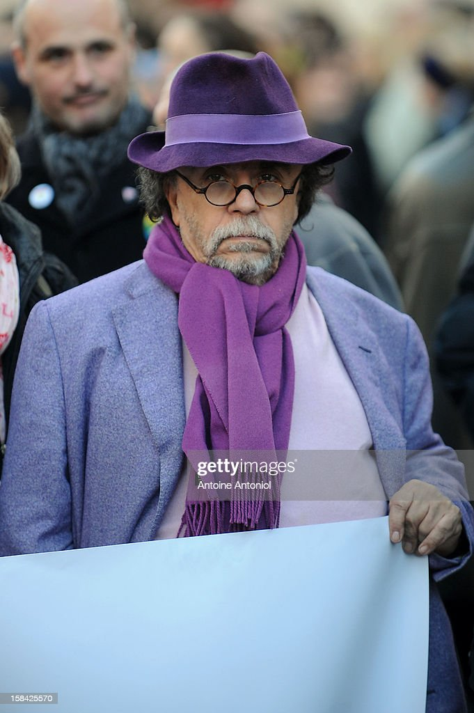 Director of the Theatre du Rond-Point Jean-Michel Ribes demonstrates for the legalisation of gay marriage and parenting on December 16, 2012 in Paris, France. Demonstrations have shown a deep division in French society over the marriage equality bill expected to be passed in early 2013. The bill would not only legalize same-sex marriage but would also allow gay couples to adopt, which is seen as the most controversial issue. French President Francois Hollande, who has supported the legislation, is facing criticism from anti-gay and religious groups, while gay rights groups have warned of inadequacies within the bill.