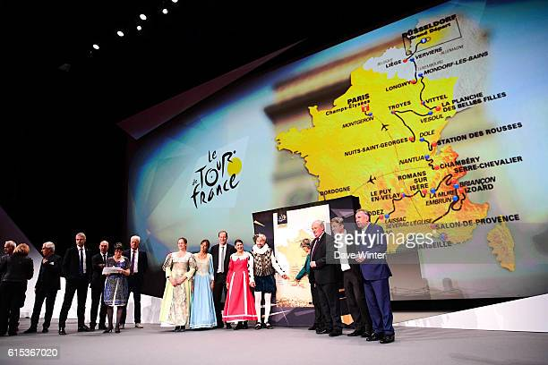 Director of the Tour de France Christian Prudhomme introduces the route of the 2017 with representatives of some of the towns where stages start and...
