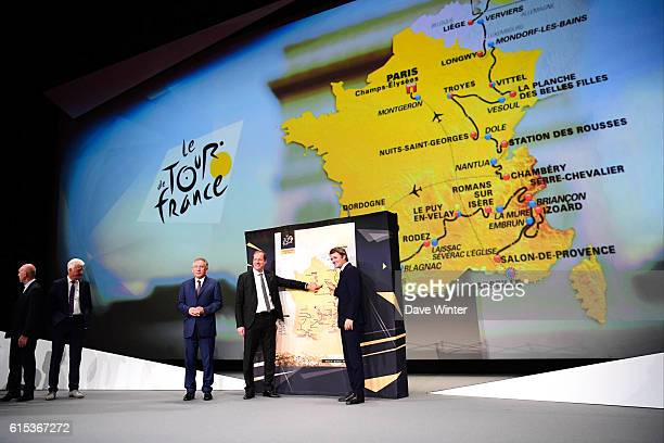 Director of the Tour de France Christian Prudhomme introduces the route of the 2017 race with mayor of Pau Francois Bayrou and mayor of Troyes...
