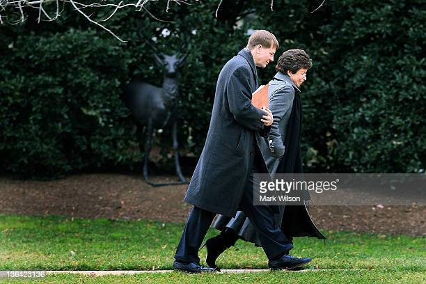 Director of the United States Consumer Financial Protection Bureau Richard Cordray and Senior Advisor Valerie Jarrett arrive at the White House on...