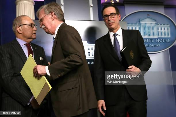 Director of the US National Economic Council Larry Kudlow US National Security Advisor John Bolton and US Secretary of the Treasury Steven Mnuchin...