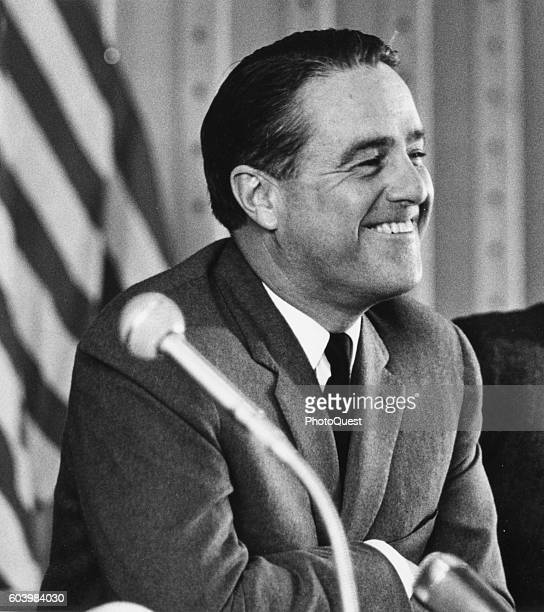 Director of the US Peace Corps Sargent Shriver smiles at a press conference Bonn Germany April 24 1964 He was on a four day visit