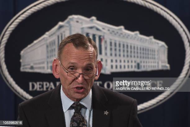 Director of the US Secret Service Randolph Alles speaks during a press conference at the Department of Justice in Washington DC on October 26 2018...