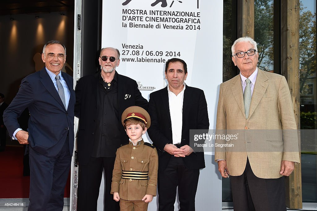 Director of the Venice Film Festival Alberto Barbera, actors Misha Gomiashvili, Dachi Orvelashvili, director Mohsen Makhmalbaf and President of the Festival Paolo Baratta attend the 'The President' premiere during the 71st Venice Film Festival on August 27, 2014 in Venice, Italy.