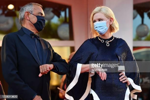 Director of the Venice Film festival, Alberto Barbera and Jury President of the 77th Venice Film festival, Australian-US actress Cate Blanchett, both...