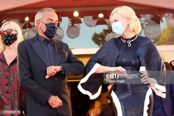 Director of the Venice Film Festival Alberto Barbera and Venezia77 Jury President Cate Blanchett walk the red carpet ahead of the Opening Ceremony...