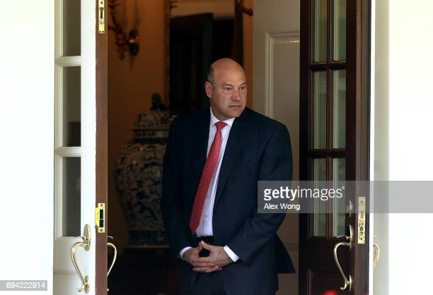 Director of the White House National Economic Council Gary Cohn waits for the arrival of President Klaus Iohannis of Romania at the entrance of the...