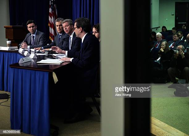 Director of the White House Office of Management and Budget Shaun Donovan speaks on the FY2016 budget request as White House Press Secretary Josh...