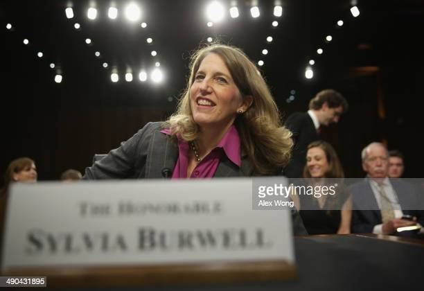 Director of the White House Office of Management and Budget Sylvia Mathews Burwell takes her seat as she arrives at her confirmation hearing before...