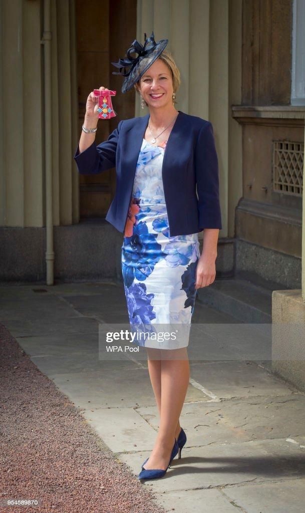 Director of Women's Cricket Clare Connor poses following an Investiture ceremony, where she was awarded The Most Excellent Order of the British Empire for services of cricket at Buckingham Palace on May 4, 2018 in London, England.