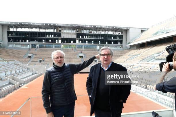 Director of Works Gilles Jourdan, directeur des travaiux and General Director of the FFT Jean-Francois Vilotte present the Philippe Chatrier Central...