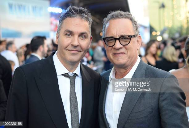 Director Ol Parker and producer Tom Hanks attend the Mamma Mia Here We Go Again world premiere at the Eventim Apollo Hammersmith on July 16 2018 in...