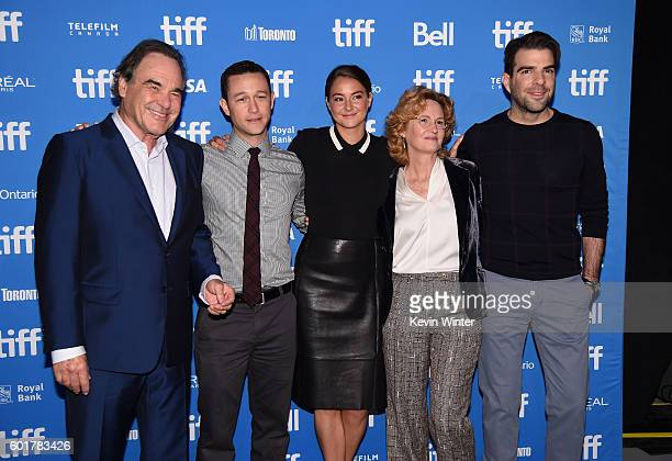 Director Oliver Stone actors Joseph GordonLevitt Shailene Woodley Melissa Leo and Zachary Quinto attend 'Snowden' press conference during the 2016...