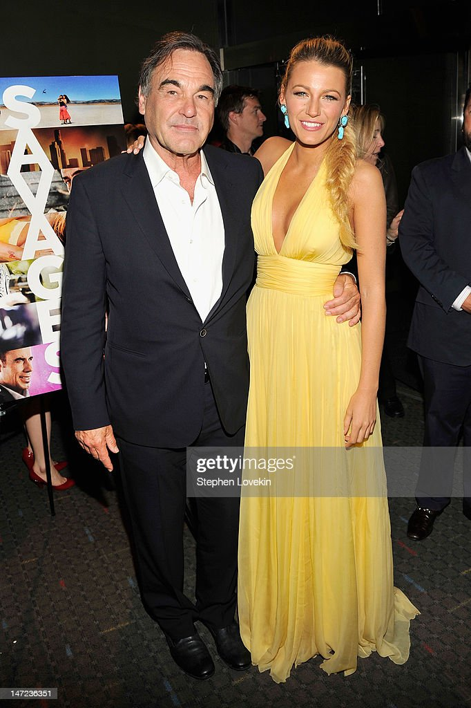 Director Oliver Stone and Actress Blake Lively attend the 'Savages' New York premiere at SVA Theater on June 27, 2012 in New York City.