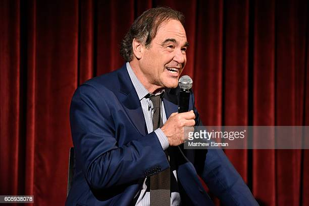 Director Oliver Stone attends The Academy of Motion Picture Arts and Sciences hosts an official Academy screening of 'Snowden' on September 15 2016...